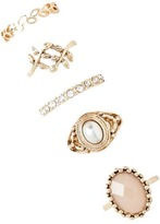 Forever 21 FOREVER 21+ Etched Faux Pearl Ring Set