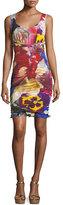 Roberto Cavalli V-Neck Sleeveless Ruched Floral-Print Dress