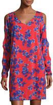 philosophy Cutout-Sleeve V-Neck Dress, Red Pattern