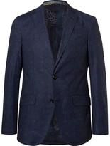Etro Blue Slim-Fit Damask-Printed Stretch-Cotton Blazer