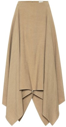 Salvatore Ferragamo Asymmetrical linen and silk skirt