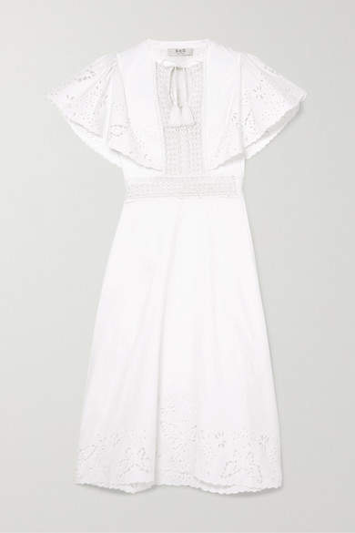 Sea Lace-trimmed Broderie Anglaise Cotton Midi Dress - White