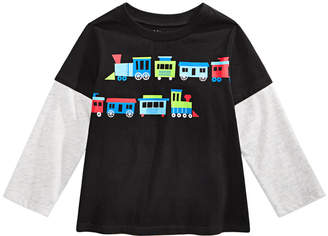 First Impressions Baby Boys Trains-Print Layered-Look Cotton T-Shirt