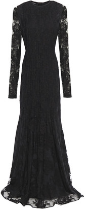 Rochas Pleated Cotton-blend Lace Gown