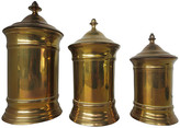 One Kings Lane Vintage English Brass Canisters - Set of 3 - Cliffe's Edge Antiques