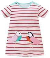 OHBABYKA Girls Cotton Cartoon Shortsleeve Stripe Dress,Cotton T-shirt Dress (18M, )