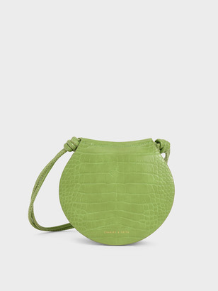 Charles & Keith Semi Circle Croc-Effect Crossbody Bag