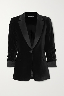 Alice + Olivia Macey Satin-trimmed Crushed-velvet Blazer - Black