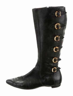 Oscar de la Renta Buckle-Accented Knee-High Boots Black