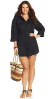 Dotti Plus Size Button-Front Shirtdress Cover-Up