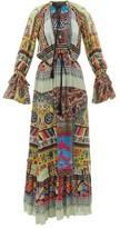 Etro Edera Printed Silk-chiffon Kaftan - Womens - Green Multi