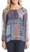 Karen Kane Women's Paisley Patchwork High/low Top