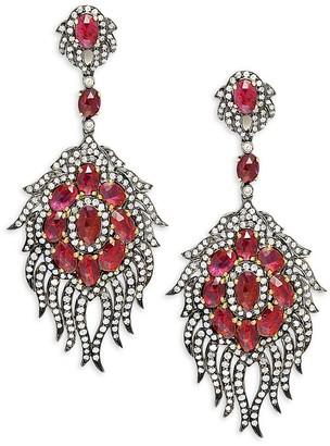 Artisan 18K Yellow Gold, Black Rhodium-Plated Sterling Silver, Ruby & Diamond Earrings