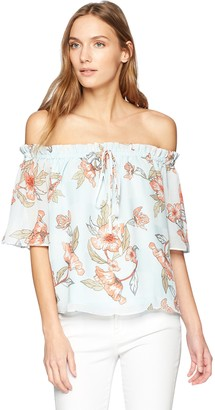 J.o.a. Women's Floral Off The Shoulder Short Sleeve Flare TOP with TIE