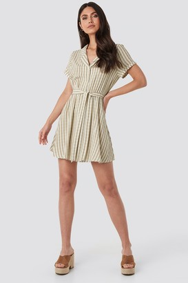 NA-KD Collar Stripe Shirt Dress Pink