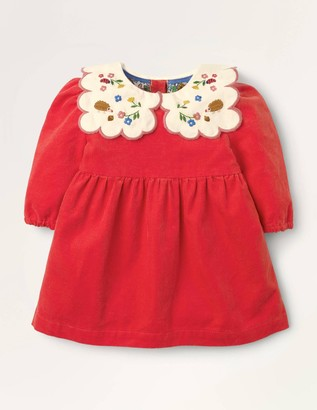 Embroidered Collar Cord Dress
