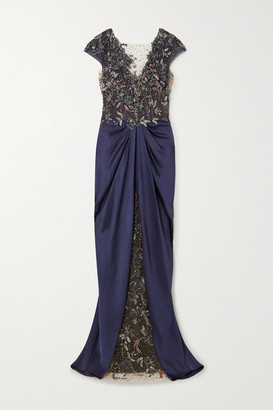 Marchesa Embellished Tulle And Draped Satin-crepe Gown - Purple