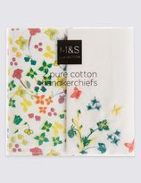 Marks and Spencer 2 Pack Pure Cotton Floral Print Handkerchiefs