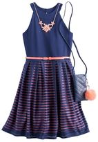 Knitworks Girls 7-16 Burnout Striped Skater Dress with Crossbody Purse