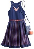 Knitworks Knit Works Girls 7-16 Knit Works Burnout Striped Skater Dress with Crossbody Purse