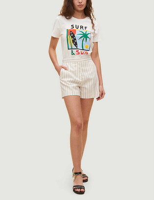 Claudie Pierlot Striped high-rise stretch-woven shorts