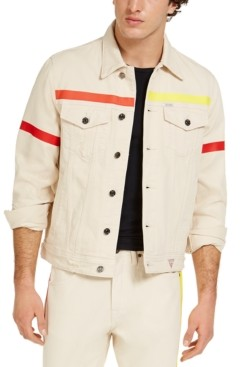 GUESS Men's Denim Jacket With Colored Taping