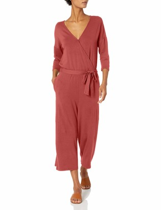Daily Ritual Supersoft Terry Relaxed-fit Elbow-Sleeve Overlap Jumpsuit Pants