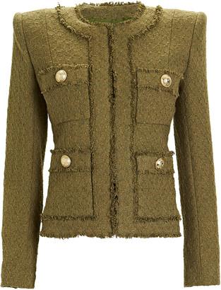 Balmain Collarless 7-Pocket Tweed Jacket
