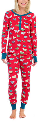 Munki Munki Women's Sleep Bottoms RED - Red Sheep Pajama Set - Women