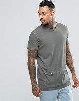 Asos Longline T-Shirt With Oil Wash And Zip Front Pocket