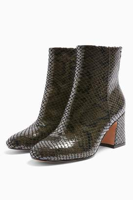 Topshop Womens **Wide Fit Belize Khaki Smart Snake Boots - Khaki
