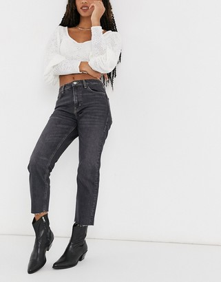 Topshop straight leg jeans in extreme washed black