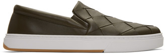 Bottega Veneta Green Maxi Intrecciato Slip-On Sneakers