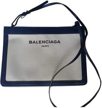 Balenciaga Navy Ecru Cotton Clutch bags