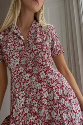 Urban Renewal Vintage Urban Outfitters Archive Red Floral Tea Dress - Red XS at Urban Outfitters