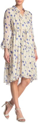 I. Madeline Floral Ruffled Chiffon Knee Length Dress