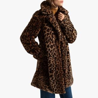 La Redoute Collections Faux Fur Coat in Leopard Print