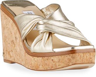 Jimmy Choo Narisa Metallic Wedge Platform Sandals