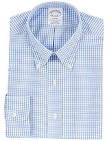 Brooks Brothers Non-Iron Regent Fit Fitted Classic-Fit Button-Down Collar Tonal Checked Dress Shirt