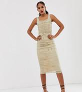 TFNC Tall Tall shimmer mesh ruched midi dress in light gold