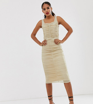 TFNC Tall Tall shimmer mesh ruched midi dress in light gold