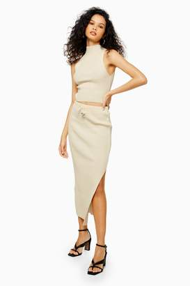 Topshop Womens Ivory Recycled Knitted Midi Skirt - Ivory