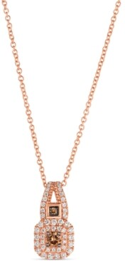 "LeVian Le Vian Chocolatier Vanilla Diamond (1/4 ct. t.w.) & Chocolate Diamond (1/8 ct. t.w.) 18"" Pendant Necklace in 14k Rose Gold"