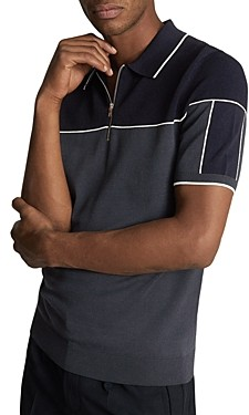 Reiss Nelson Color Block Slim Fit Half Zip Polo Shirt
