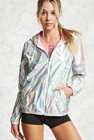 Forever 21 Holographic Nylon Zip Jacket