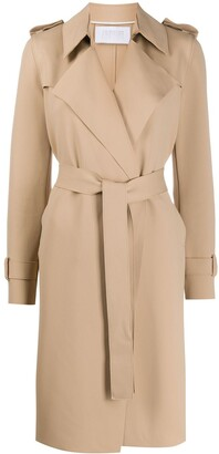 Harris Wharf London Belted Wide-Lapel Trench Coat