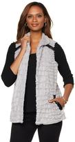 Slinky Brand Faux Fur Vest with Faux Leather Trim and Pockets