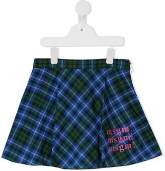 Msgm Kids Tartan Skirt