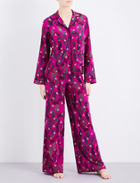 Rockins Monkey-print silk-crepe pyjama set