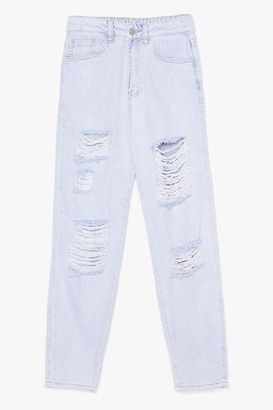 Nasty Gal Womens Don't Distress With Me Mom Jeans - Blue - 8